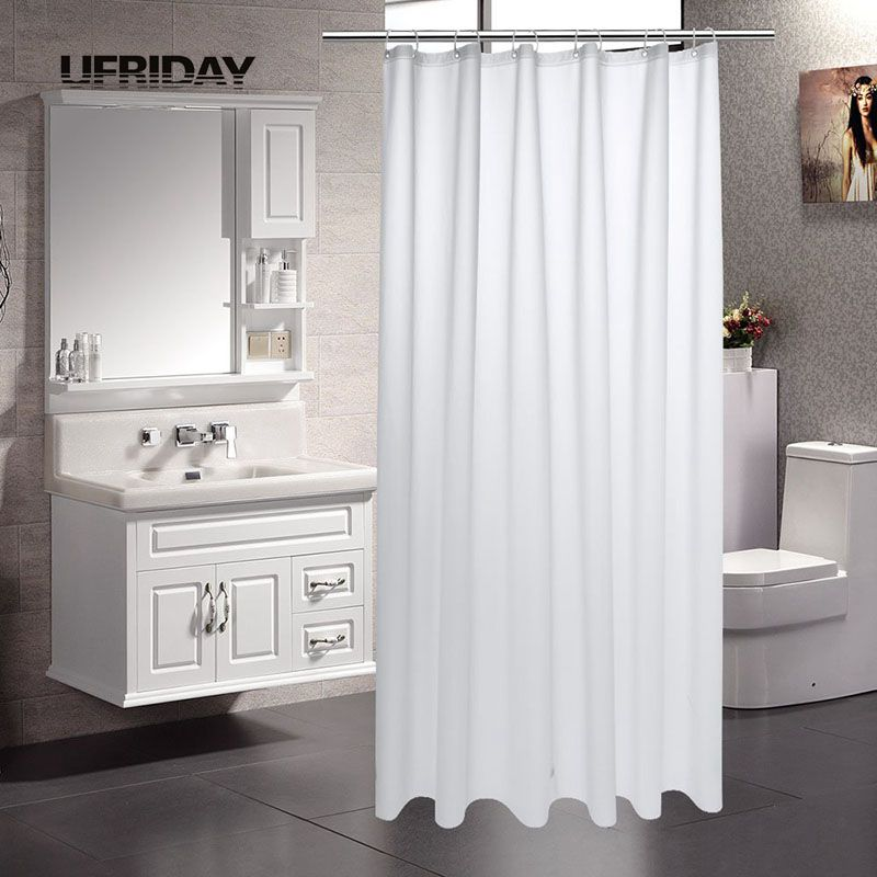 UFRIDAY Brand Shower Curtain PEVA Mildew Bath Curtains with Magnetic Bottom Semi-Transparent Waterproof Bathroom Curtain