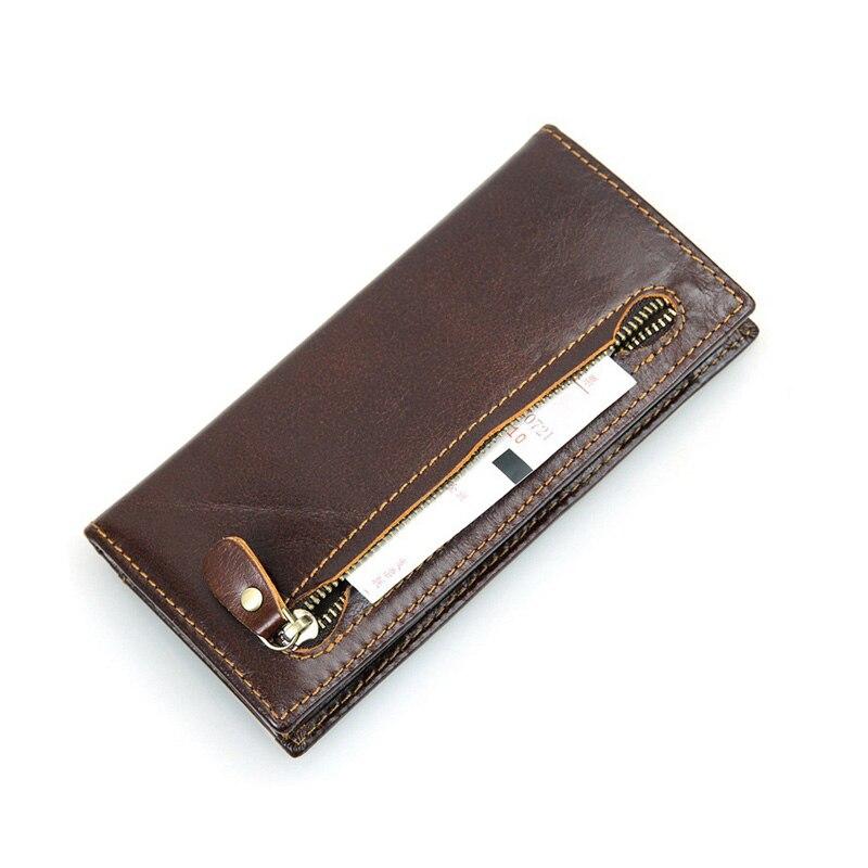 Genuine Leather Women Wallet Long thin Purse Cowhide Standard Wallet