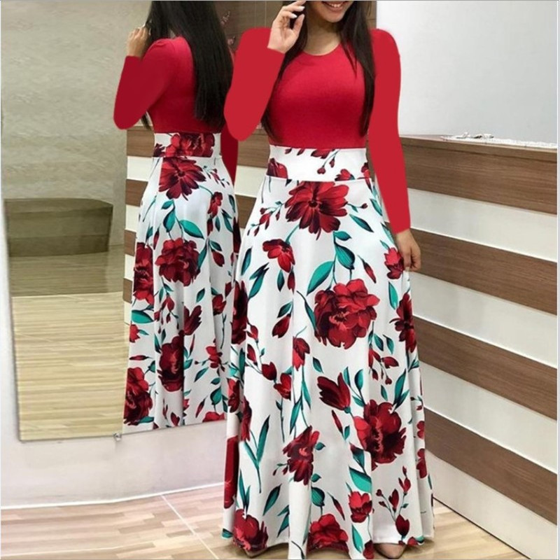 Spring Autumn For Women Dress 2019 Casual Long Sleeve O-neck Tunic Patchwork Dresses Fashion Vintage Print Maxi Dress Vestidos