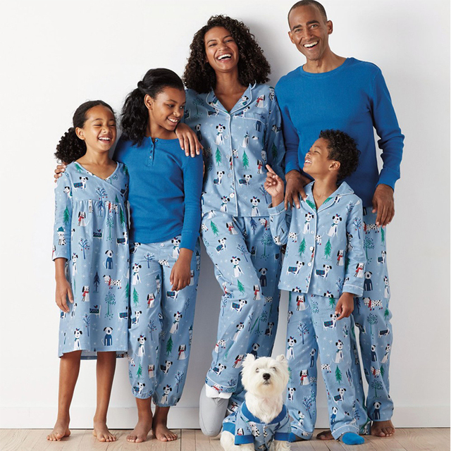 87b178ac38 Family christmas pajamas Blue Xmas Printed 2pcs sets family pajamas father  son matching clothes Mother and daughter clothes