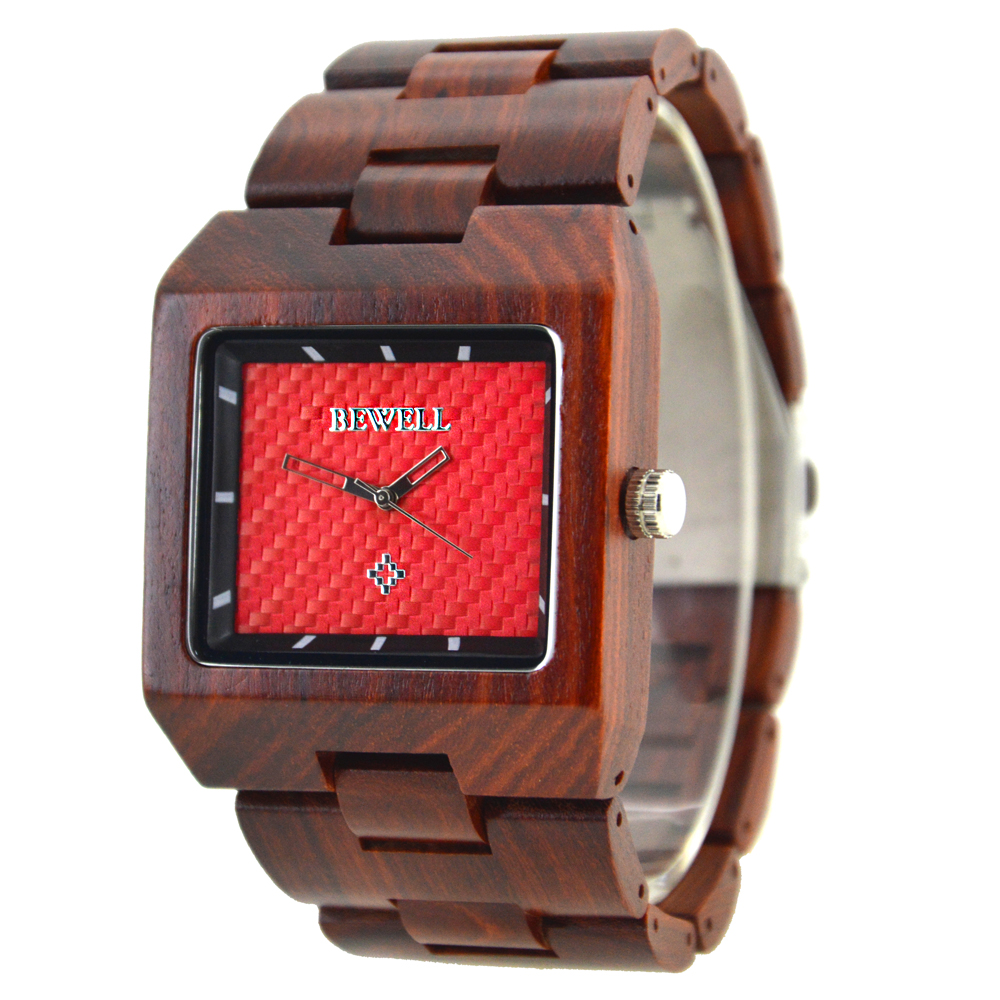 BEWELL Luxury Brand Man's Sandalwood Watches Japan Quartz Movement Rectangle Watch for relogio masculino Gift with Box 016A 2016 top brand bewell natural handmade sandalwood watch for masculino luxury watches gift reloj mujer zs 100ag