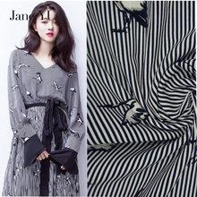 Jane YU Spring and summer new temperament crane striped print chiffon fabric dress shirt clothing
