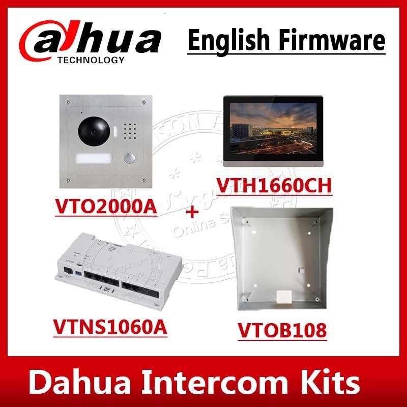 Dahua Video Intercom Kits VTO2000A VTH1660CH VTNS1060A VTOB108 10 Inch IP Video Intercom System With Logo English Firmware