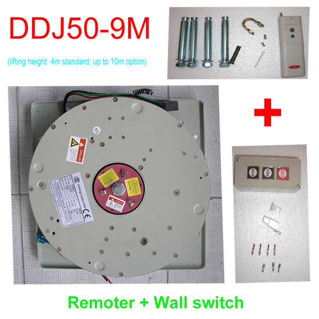 50KG 9M Wall Switch+Remote Controlled Lighting Lifter Chandelier Hoist Lamp  Winch Light Lifting System
