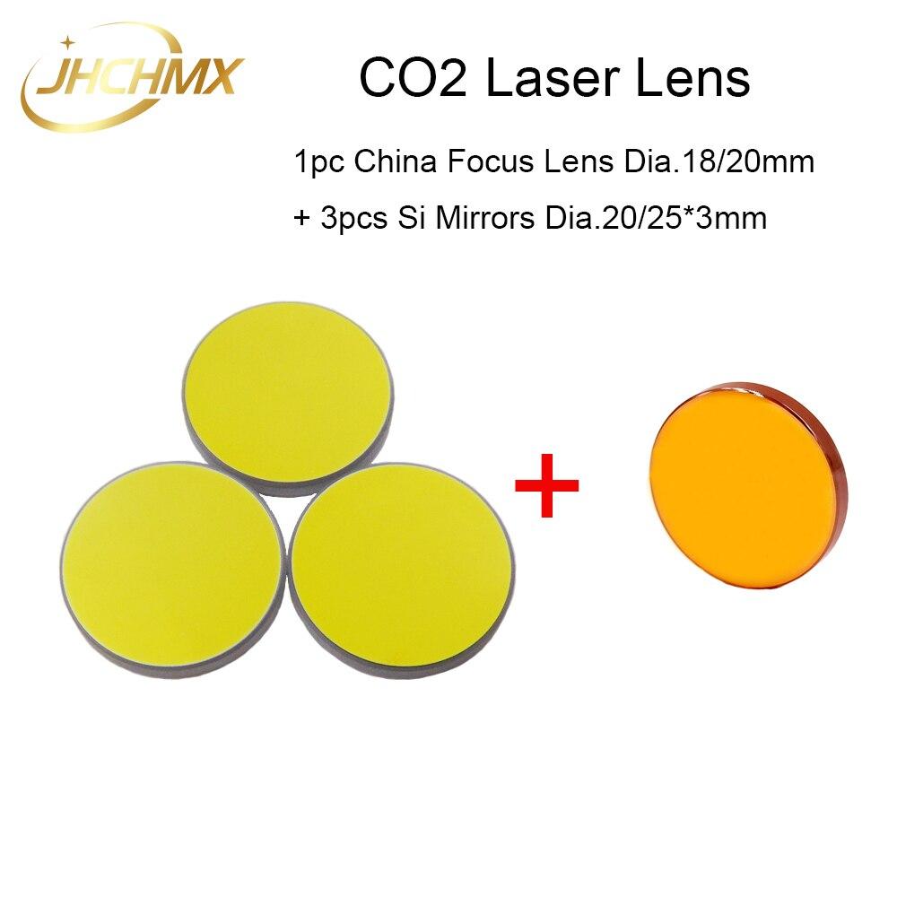 Lente de Foco Do Laser Dia18 1 pc China Co2/20mm FL50.8/63.5/101.6mm + 3 pcs si Espelhos 20/25*3mm Para Co2 Máquina de Corte Da Gravura Do Laser