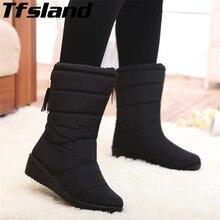 Зимние женские ботинки; ботинки до середины икры; женские водонепроницаемые зимние ботинки; прогулочная обувь для девочек; Плюшевые кроссовки с бахромой; botas mujer