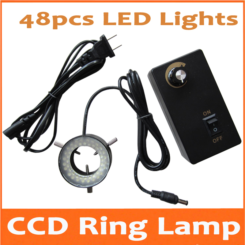 48pcs Adjustable LED Ring Lamp White Color Light for Stereo Microscope CCD AC90-240V with Inner Diameter 30mm and Metal Fram white light 156pcs led lamps adjustable stereo biological microscope ring lamp input power 8w 90v 264v with 81mm inner diameter