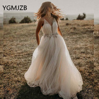 Sexy Champagne Beach Boho Wedding Dresses 2019 V Neck Spaghetti Strap Beaded Tulle Bride Dress Bridal Gown 2019 Wedding Gown