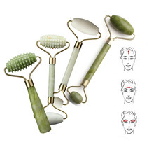1Pcs Double Head Green Jade Roller Massager Eye Face Neck Facial Relax Slimming Thin face Body Beauty Health Care Tools Hot Sale(China)