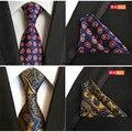 2016 Calidad Paisley Lazo Para Hombre Corbata De Seda Conjunto con Bolsillo cuadrado Jacquard Tejido Lazos Para Los Hombres Gravata Corbatas de Boda 8 cm conjunto