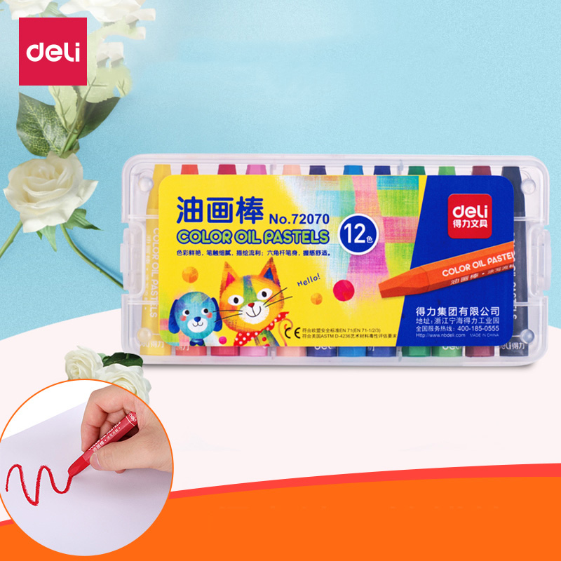 Deli Caryons Paint Sticks Non-toxic Oil Pastel Colored Pens for Kids Children Students Drawing Accessories Office School