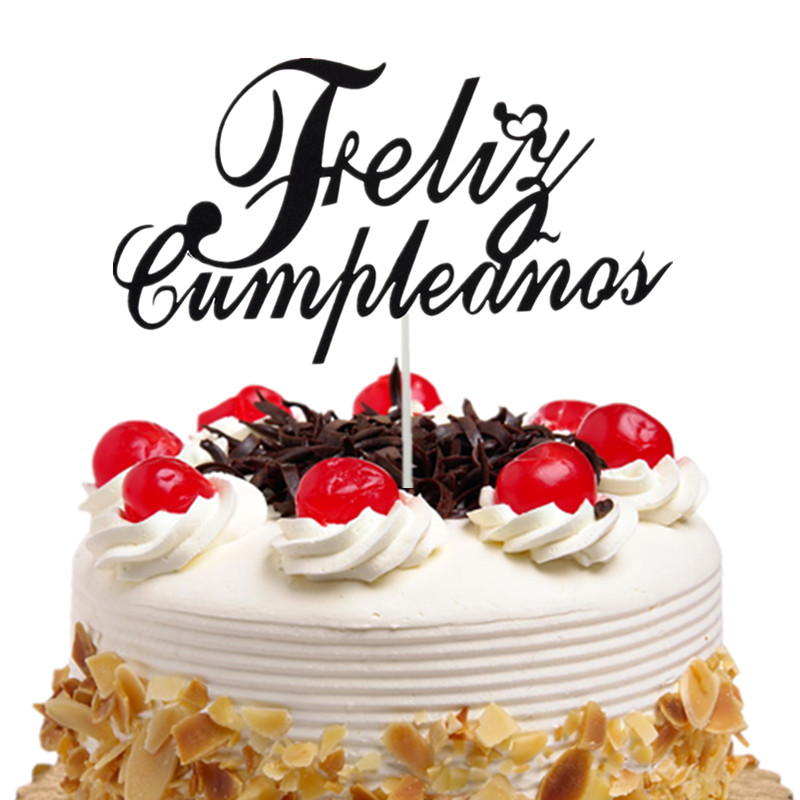 Cake Topper Bonne Fete French Russian Happy Birthday Spanish Feliz Cumpleanos Cake Flags Birthday Party Cake Decor Customised in Cake Decorating Supplies from Home Garden