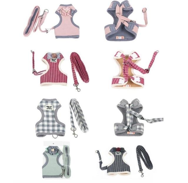 Petalk Cute Breathable Dog Harness Set  Adjustable Pet Cat Harness Leash Puppy Harness Vest Dress S M L