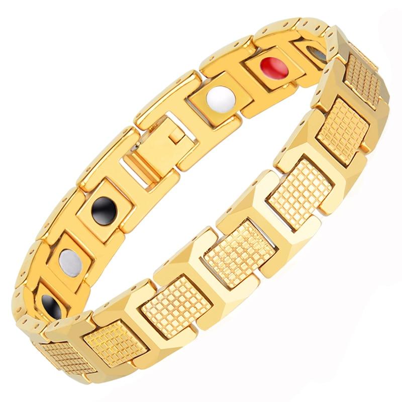 Hottime Herren Gold Farbe Armband Gesundheit Energie Germanium 316L Edelstahl Bio Magnetische Armbänder Armreif für Männer Schmuck