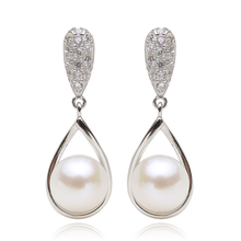 925 silver real natural big WAO new 8.5-9mm Natural Pearl Earrings Sterling Silver Round female wedding gift jewelry accessories