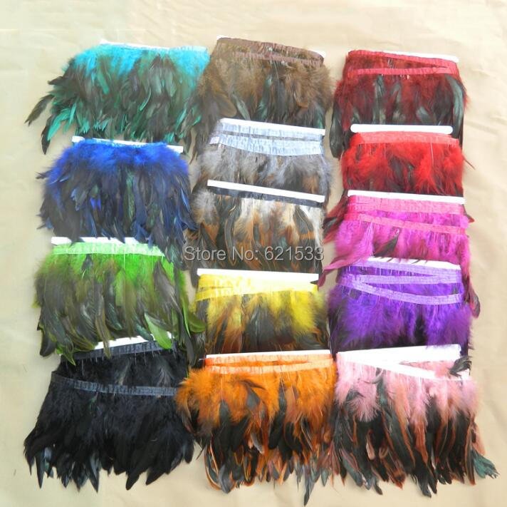 10Yardrs Lot Height5 6inches 12 18cm Saddle Rooster Coque Feather Trim Rooster Fringe 14Colours Available in Feather from Home Garden