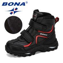 بونا نمط جديد الشتاء الفتيان أحذية الأطفال أحذية للأطفال أحذية رياضية الأحذية الجلدية أفخم الدافئة شقة حذاء من الجلد مريحة