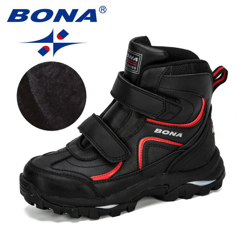 BONA 2019 New Style Winter Boys Boots Children Shoes For Kids Sneakers Leather Boots Plush Warm Flat Ankle Boots Comfortable|Boots| |  - title=
