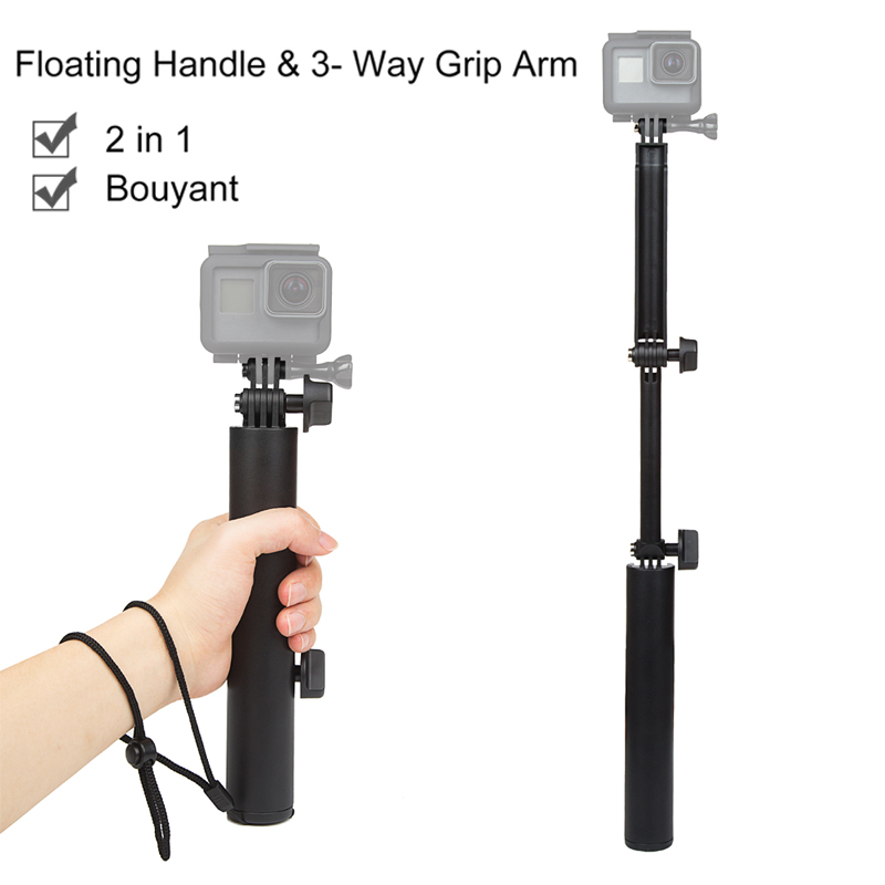 3 Way Foldable Pole Monopod Adjustable Selfie Stick Extendable Arm Mount Hand Held Monopod for Action Camera in Sports Camcorder Cases from Consumer Electronics