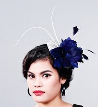 16 цвета элегантные Дамы королевский fascinators, sinamay чародей, женщины белье перо шляпа, свадьба/партии аксессуары для волос, перо шляпа