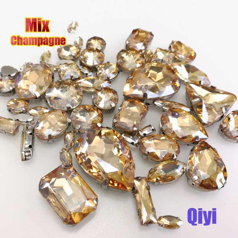 Vendre à perte! 50 pcs/sac de haute qualité forme mixte champagne verre coudre sur griffe strass, bricolage vêtements accessoires SWM017