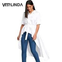 VESTLINDA Casual White Dresses Women Fashion Asymmetric Shirt Collar Short Sleeves Shirt Dress With Belt Womens