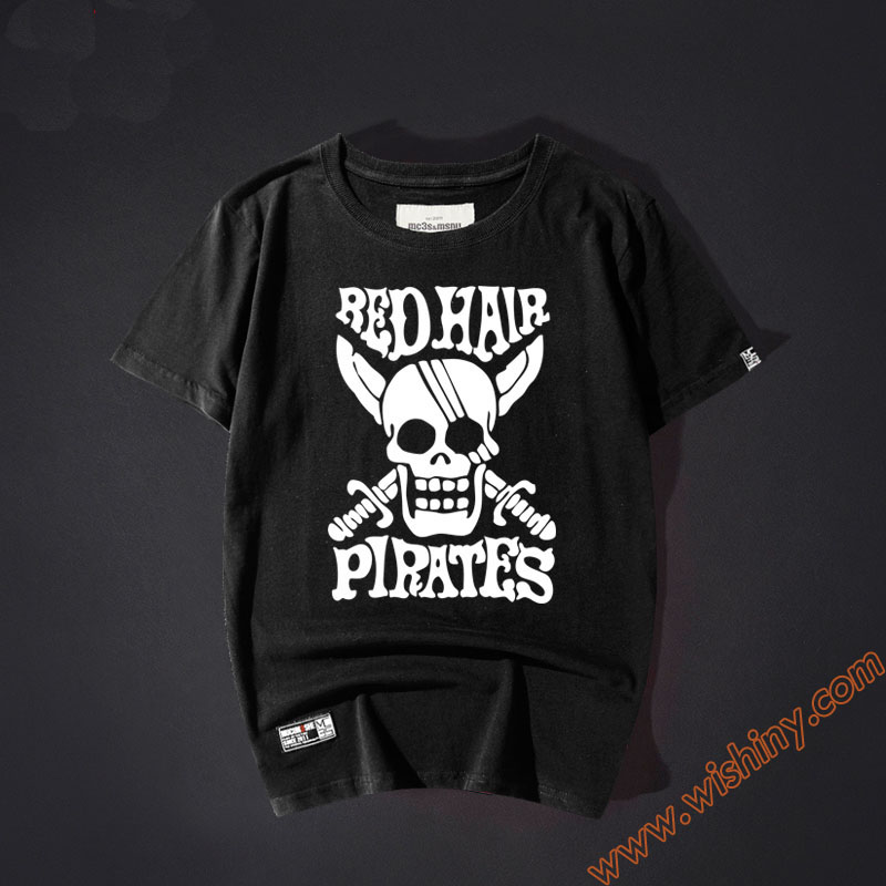 Cool One Piece Tshirt Skull Men Boy Youth 100% Cotton XXL Black Red White Tee Shirts