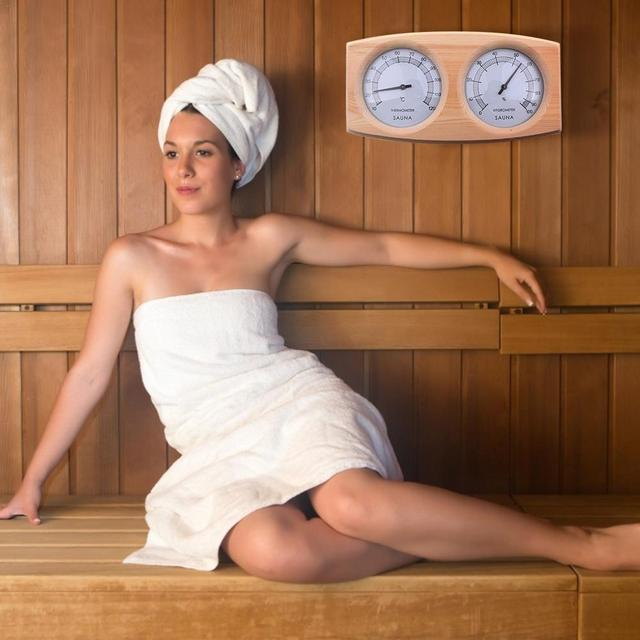 Sauna Room Thermometer Hygrometer Wooden Double Pointer Hygrothermograph Humidity Measurement 20 To 40 Degrees Celsius