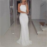 Сексуальная Холтер спинки Русалка платья невесты простой белый блесток длинное платье для выпускного вечера 2018 Свадебная вечеринка платья