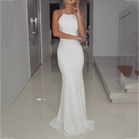 Sexy Halter Backless Mermaid Bridesmaid Dresses Simple White Sequin Long Prom Dress 2018 Wedding Party Gowns Maid of Honor Dress