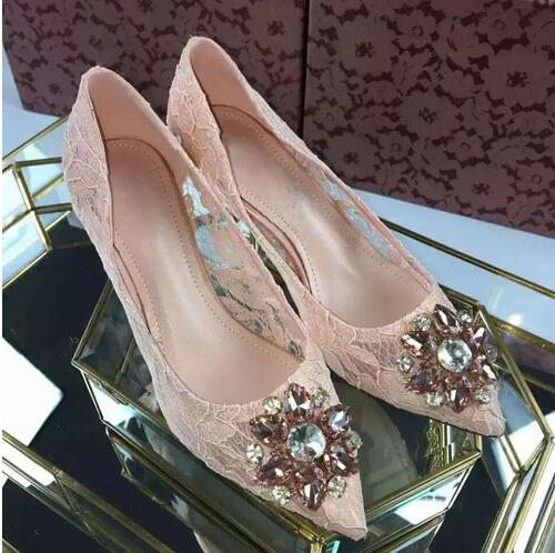 2018 Sexy Lace Rhinestone Mesh Hollow Out Women Pumps High Heels Flowers Crystal Pink Party Lady Shoes Woman 6cm or 9cm heel hand made luxurious bowtie pink crystal wedding shoes jeweled rhinestone flowers sexy women high heels bridals evening shoes
