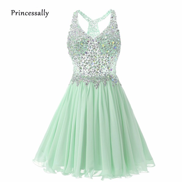 abd9c4afc46 Vestido De Festa Mint Green Bridesmaid Dress Short Mini Sleeveless Summer  Beach Elegant Beading Hige-grade Wedding Party Gown
