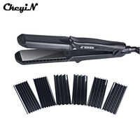 Multifunctional Ceramic Hair Straightener Curling Tourmaline Heating Hair Curler Corrugated Iron With 4 Plates Hair Styling