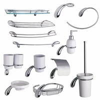 Chrome Hardware Bathroom Accessories Set Brass Liquid Soap Dispenser Towel Rail Ring Coat Hook Toilet Paper