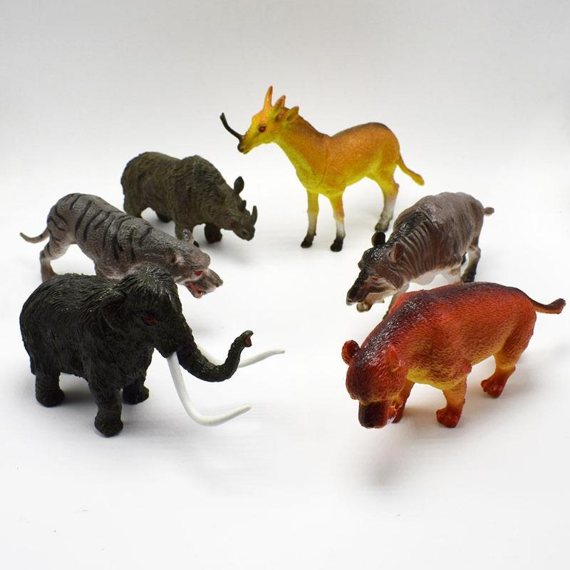 VKTECH 6pcs Simulated Animals Mammoth Saber Toothed Tiger Rhino Model Plastic Toys for Children Education Biology Class PropsVKTECH 6pcs Simulated Animals Mammoth Saber Toothed Tiger Rhino Model Plastic Toys for Children Education Biology Class Props