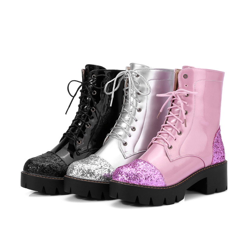 Chaussures Pour forme argent Plate Bottines Femme Des Dame rose Femmes Ymechic Lacets Moto Talons À Bottes Femelle Noir Noir Grande Rose Argent De Taille Épais OPXuZki