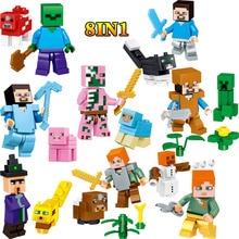 O meu Mundo Figuras de Ação Blocos Steve Compatível LegoINGLYS Minecrafted Zumbi Conjunto Tijolos Esclarecedor Brinquedos Divertidos Para Crianças