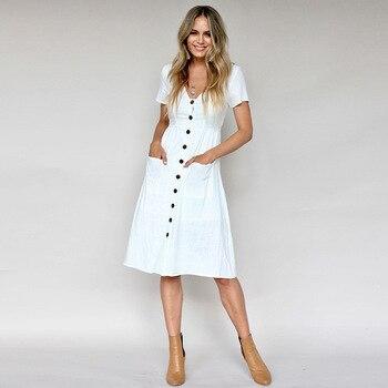 b93708492a 2019 Nova Moda Feminina Vestidos Casual Vestido de Manga Curta Preto Branco  Rosa Solta Plus Size Feminina Com Bolsos Vestido Robe femme