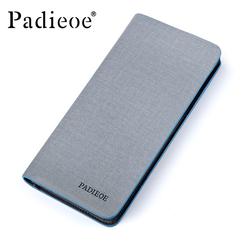 Padieoe Fashion Split Leather Men Wallets Slim long bifold casual purse card holder wallet недорго, оригинальная цена