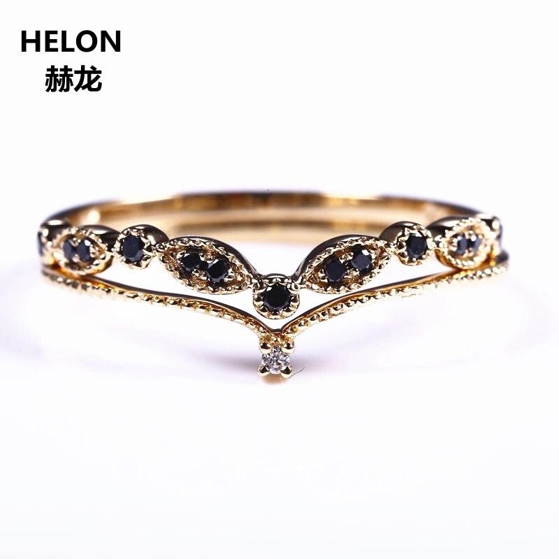 Два Кольца SOLID 14 К желтый бело-золотые черный природных алмазов Обручение обручальное кольцо набор Для женщин полоса V Форма тонкие милые ро...