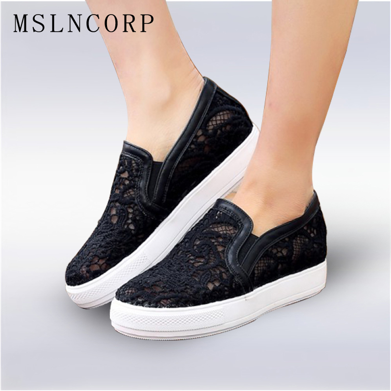 Plus Size 34-44 Summer Women Loafers Lady Lace Shoes Woman Elastic band Solid Embroider Breathable Flats Handmade Casual Shoes plus size 34 45 new summer women shoes casual cutouts lace hollow floral breathable platform shoe increased internal mujer shoes
