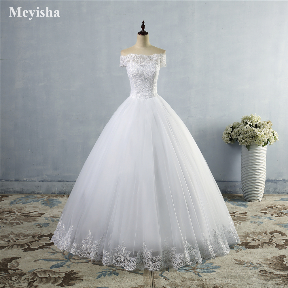 ZJ9097 new White Ivory Lace 2019 Wedding Dress for brides with lace edge plus size maxi