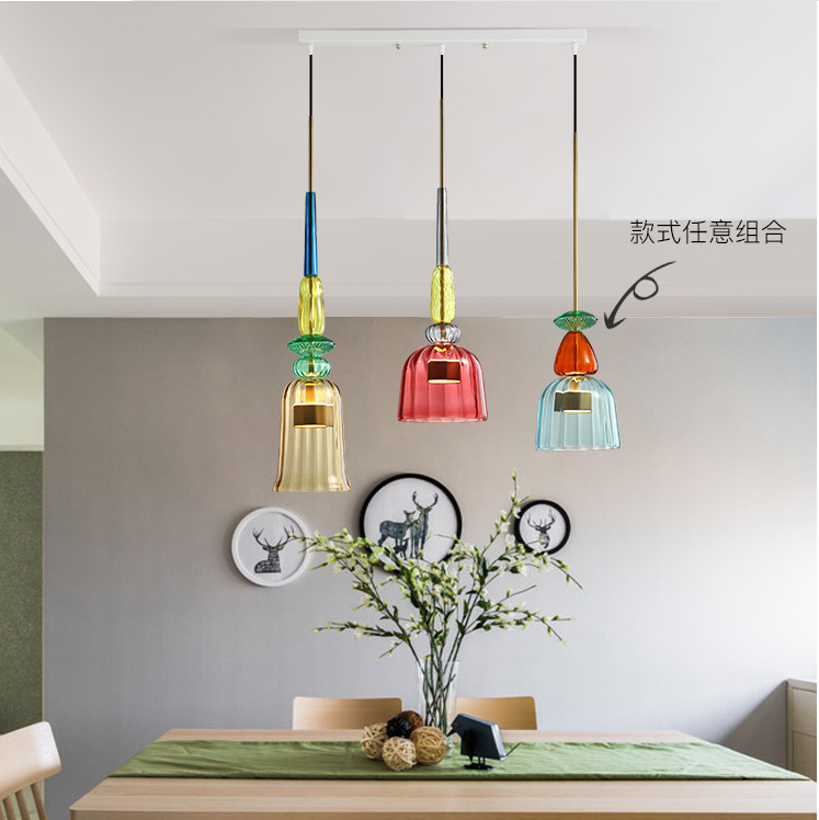 Nordic Industrial Wind Coloure Chandelier Restaurant Bar Bedroom Bedside Lamp Post-modern Retro Single Head LED Glass Chandelier