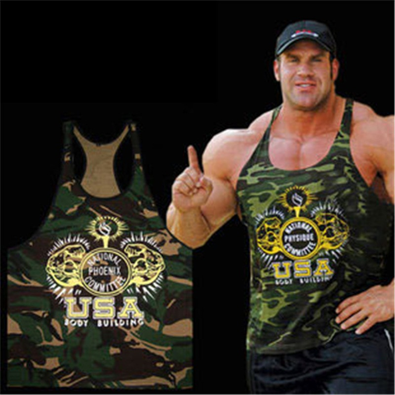 Men camouflage cartoon print Vests gym sports Active brave USA Hercules soldier army male slim casual green Camis Tank Tops in Tank Tops from Men 39 s Clothing