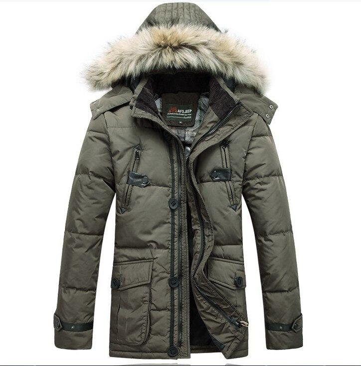 AFS JEEP <font><b>Hot</b></font> <font><b>Sale</b></font> Winter Autumn Thick Down Coats <font><b>Long</b></font> <font><b>Hooded</b></font> Jackets Duck Down Lining Leisure Warm Overcoats Cotton Warmly Coats
