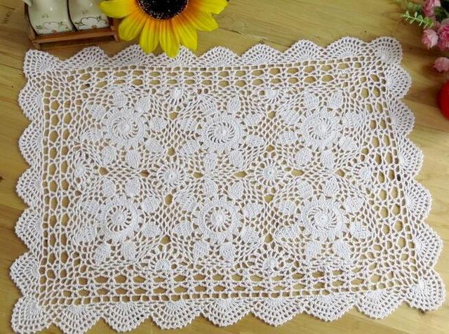 Vintage algodón crochet mantel blanco mantel cocina rectangular ...
