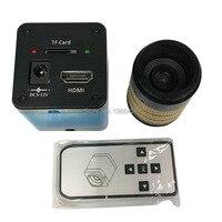 Bezpłatny transport mikroskop przemysłowa kamera HDMI lupa TF pudełko na karty kamera + duży obszar soczewki wizualne  optyczne wideo w Mikroskopy od Narzędzia na