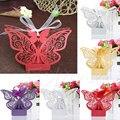 50 pcs festa de casamento doce favor butterfly papel doces caixas de presente com fita
