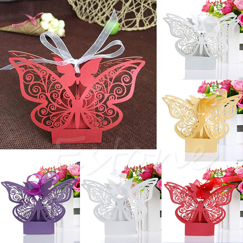 50Pcs Sweet Wedding Party Favor Favor Butterfly Paper Candy Gift Gi