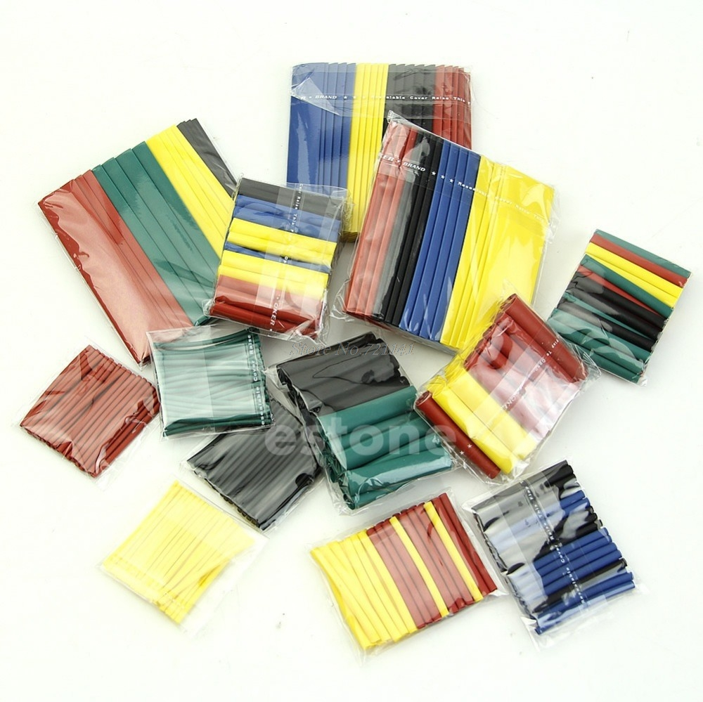 328 Pcs Assorted Heat Shrink Tube 5 Colors 8 Sizes Tubing Wrap Sleeve Polyolefin Insulation Sleeving Dropship